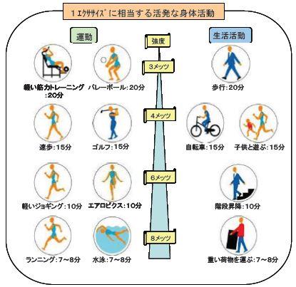 1エクササイズに相当する身体活動を図示